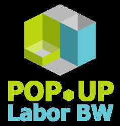 Logo von Popup Labor BW - Aus Bausteinen und Elemente entsteht durch gemeinsames Denken und Handeln ein Ganzes