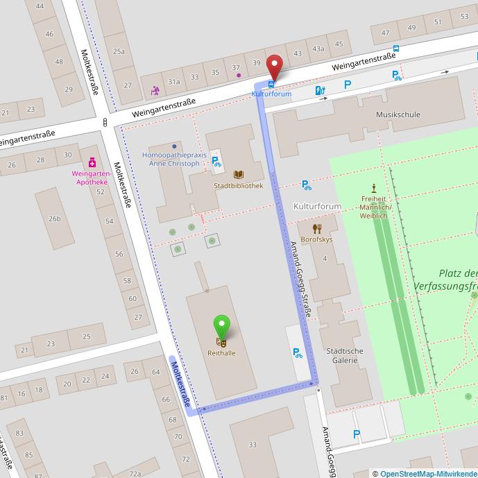 Nahauflösende Landkarte von: Moltkestraße 31 77652 Offenburg