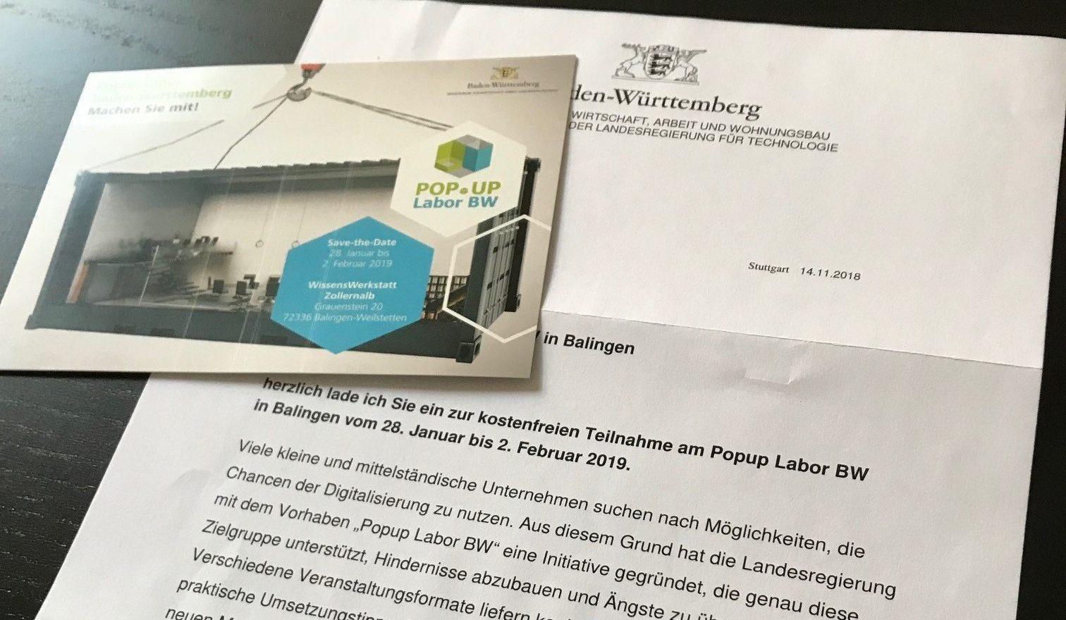 Foto des Einladungsschreibens an alle KMU (Bildquelle: Popup Labor BW)