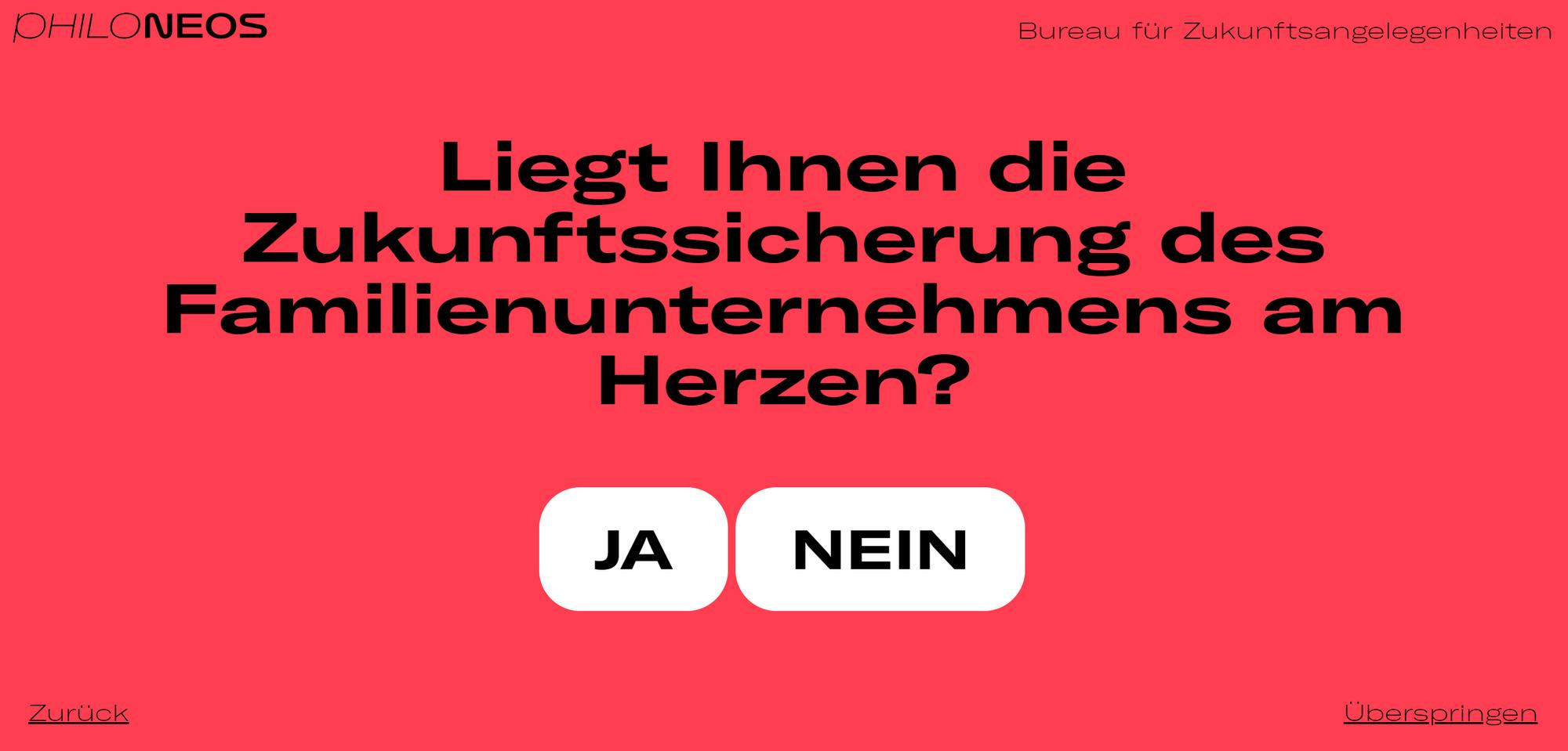 """Screenshot """"Liegt Ihnen die Zukunftssicherung des Familienunternehmens am Herzen?"""" (Bildquelle: Philoneos.com)"""
