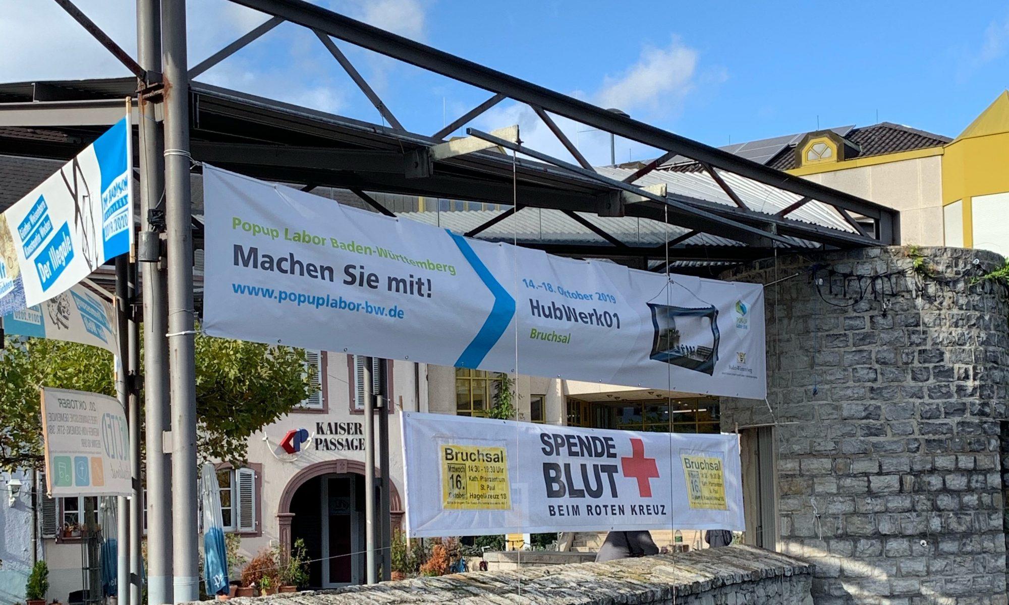 Banner Bruchsal am Marktplatz (Bildquelle: HubWerk01)