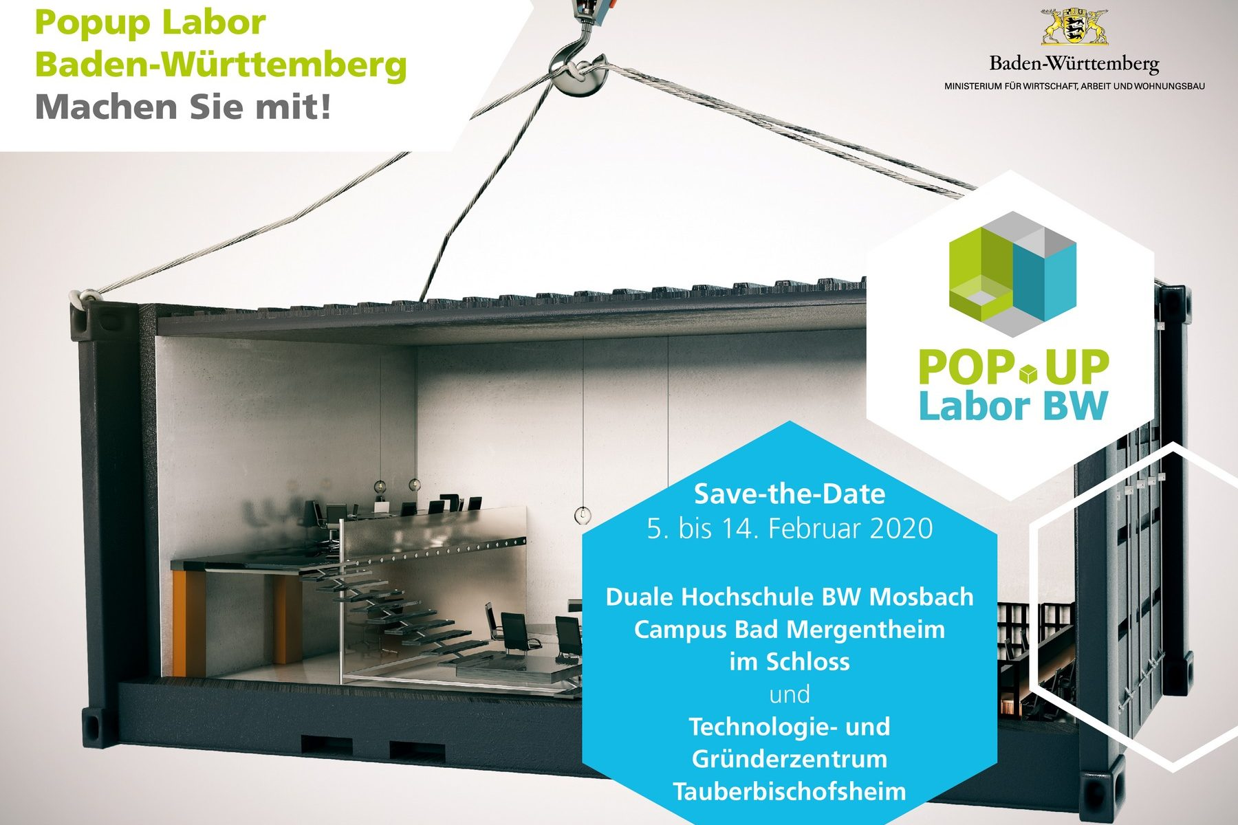 Postkarte Save-the-Date Bad Mergentheim und Tauberbischofsheim (Bildquelle: Popup Labor)