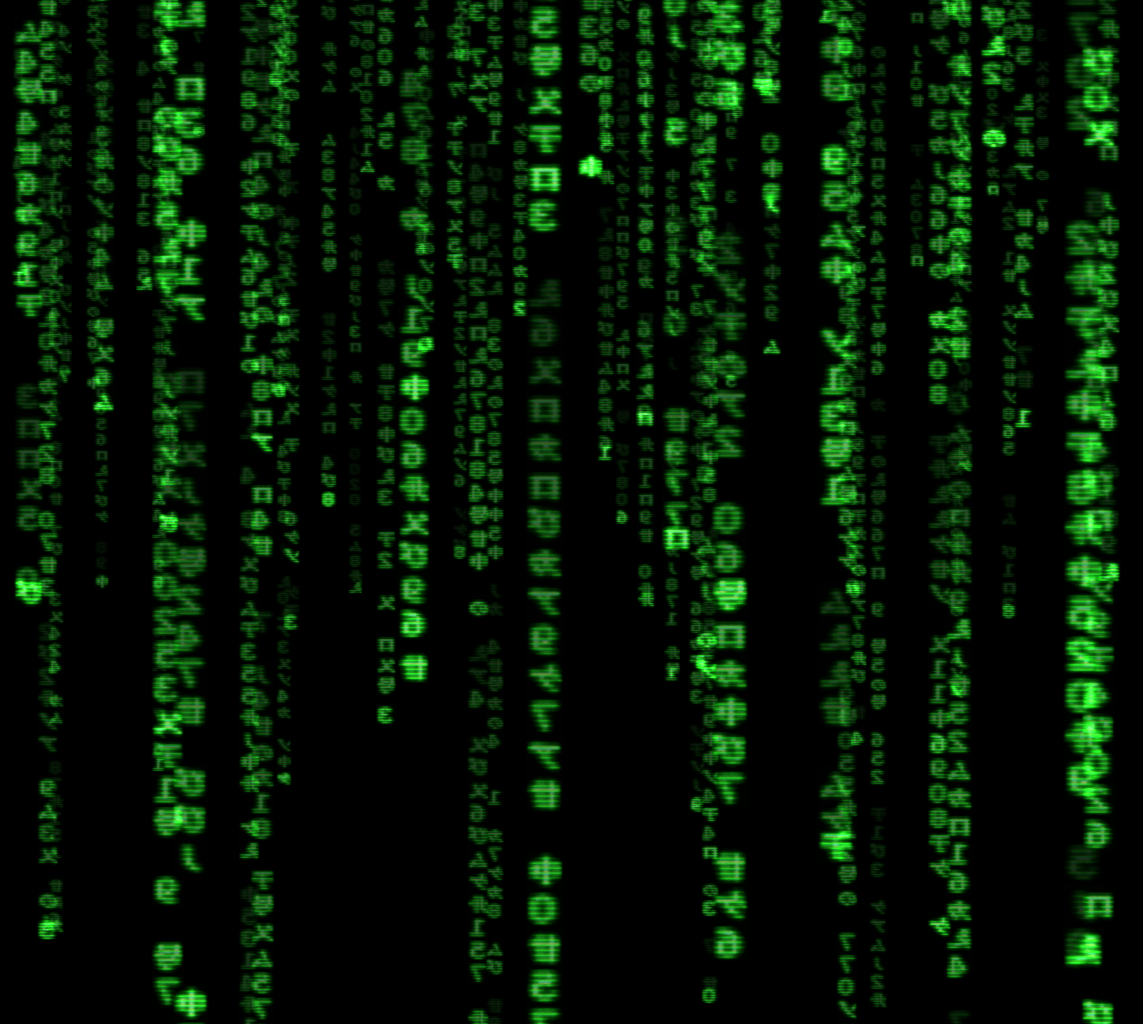 "Aufnahme von Screensaver des ""Matrix""-Films (Bildquelle: Jamie Zawinski, https://commons.wikimedia.org/wiki/File:The.Matrix.glmatrix.2.png)"