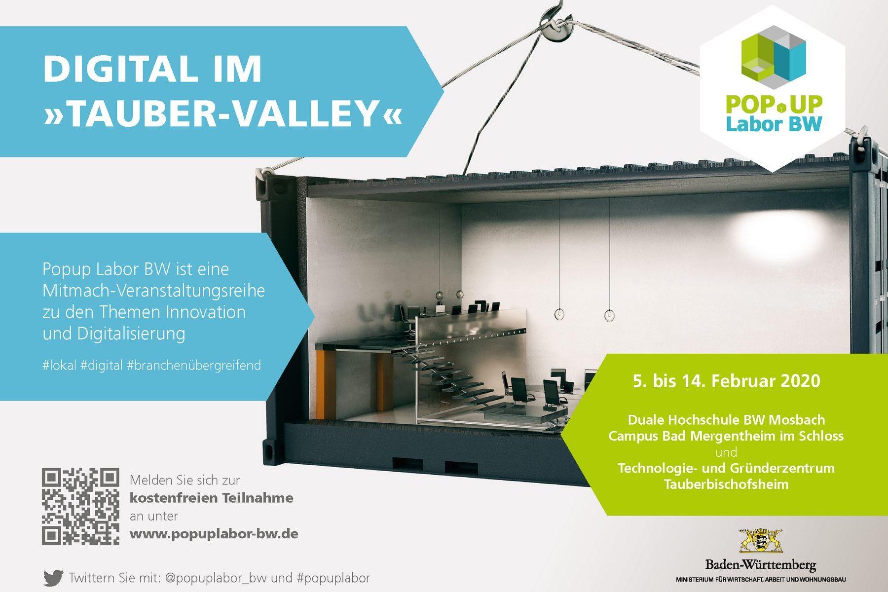 """Popup Labor BW - Flyer """"Digital im Tauber-Valley"""""""