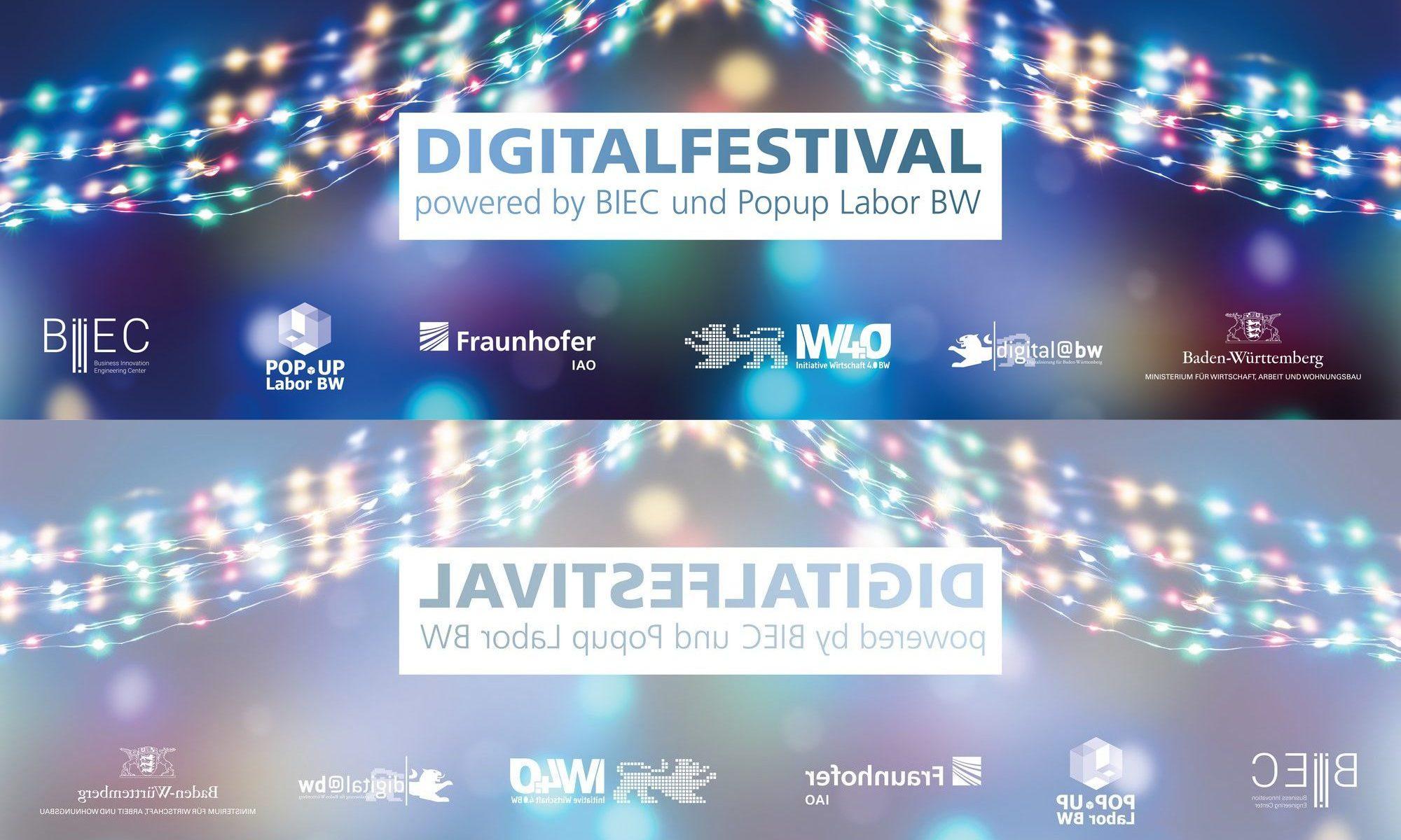 """Bild von Keyvisual """"Digitalfestival – powered by BIEC und Popup Labor BW"""" mit Spiegelung (Bildquelle: winyu - stock.adobe.com und Fraunhofer IAO)"""
