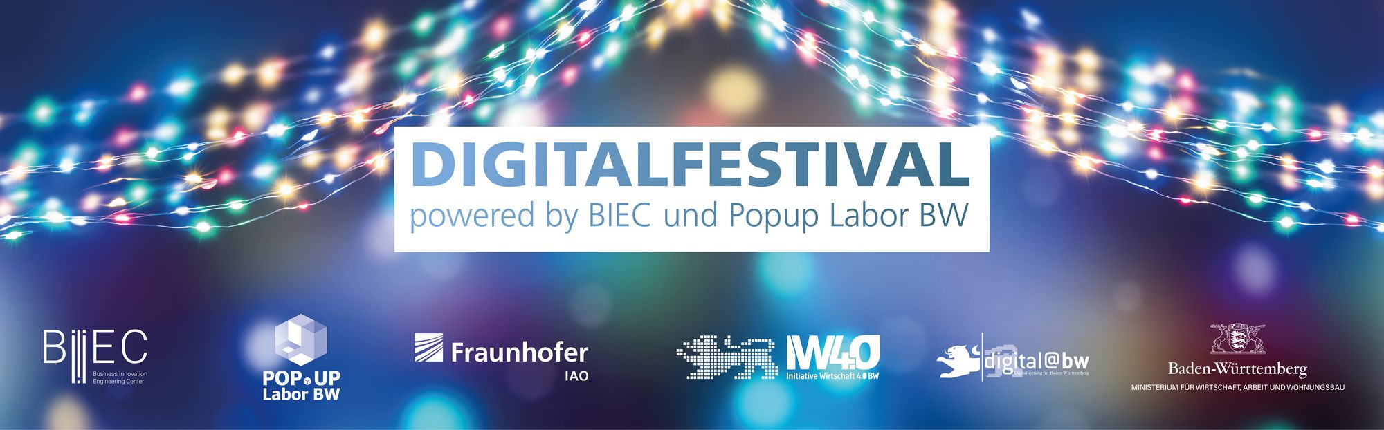 """Bild von Keyvisual """"Digitalfestival – powered by BIEC und Popup Labor BW"""" (Bildquelle: winyu - stock.adobe.com und Fraunhofer IAO)"""