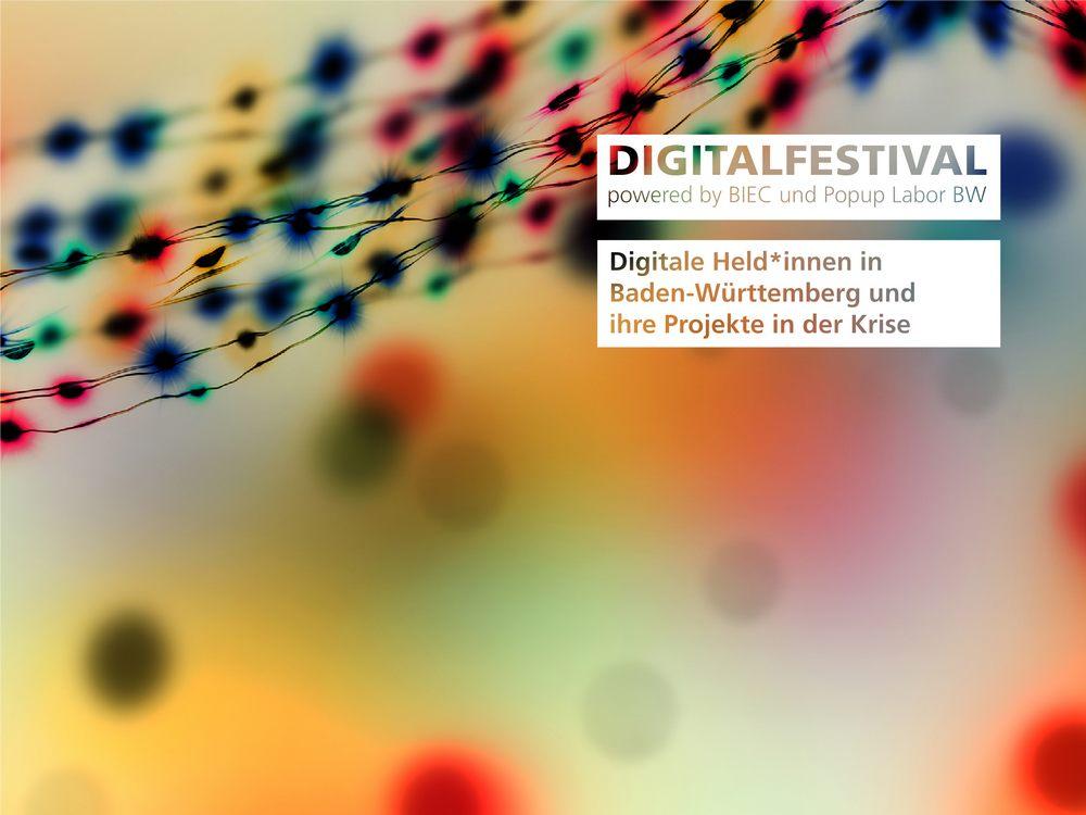"""Bild von Keyvisual """"Digitalfestival – Held*innen Projekte aus BW"""" (Bildquelle: winyu - stock.adobe.com und Fraunhofer IAO)"""