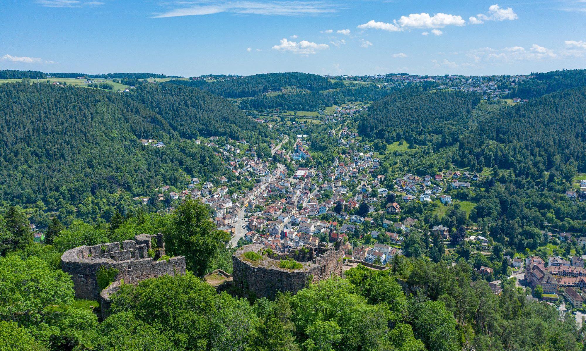 Foto von Burgruine Hohenschramberg - Blick auf die Schramberger Talstadt (Bildquelle: Stadt Schramberg)