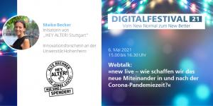 Digitalfestival 2021 - Webtalk mit Maike Becker (Bildquelle: Popup Labor BW)